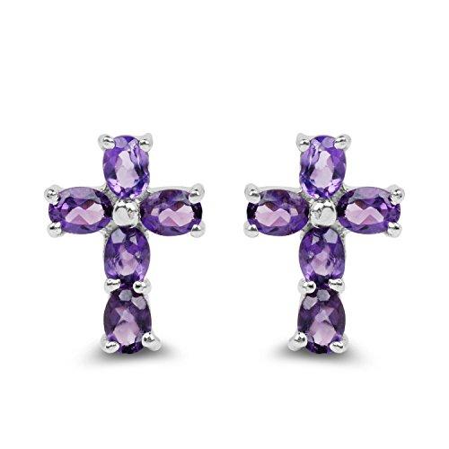 (1.44 Carat Genuine Amethyst Solid .925 Sterling Silver Cross Earrings)