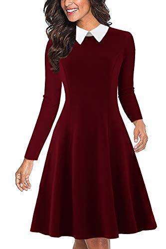 (Drimmaks Women's Business Dress with Long Sleeve Doll Collar Slim Fitted Swing Party Dresses (DM017-Wine Red, M))