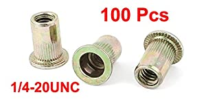 uxcell 100 Pcs Zinc Plated Carbon Steel Rivet Nut Flat Head Insert Nutsert 1/4-20UNC