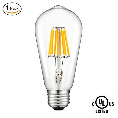 SUNMEG Edison Filament Light Bulb 10W, 2700K Soft Warm LED Bulb, 100W Incandescent Equivalent E26 Medium Base, ST64 LED Vintage Filament Bulb, 360° Beam Angle, 1000 Lumens, 1 Pack