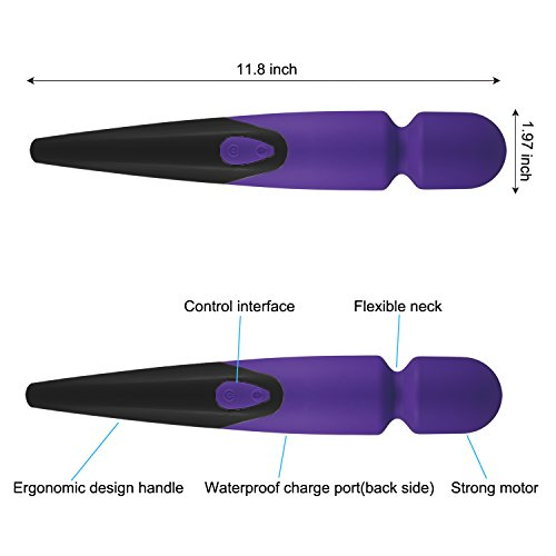 Waterproof Handheld Massager Wand - 10 Speed Therapeutic Pain Relief and Muscle Relaxation for Foot, Back, Shoulders - Cordless - USB Rechargeable - Black and Purple - By O-wOw by Marketo