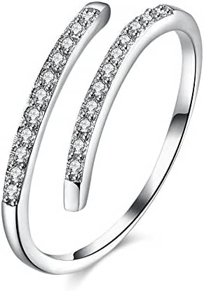 FJYOURIA Women's 925 Sterling Silver Adjustable Size Rount Cut Cubic Zirconia Band Knuckle Midi or Thumb Open Ring