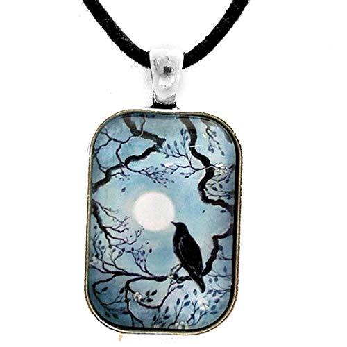 Raven in Denim Blue Pendant Black Bird Crow Necklace Zen Moon Tree Unisex Men's Handmade Jewelry Blue Moon Art Glass Pendant