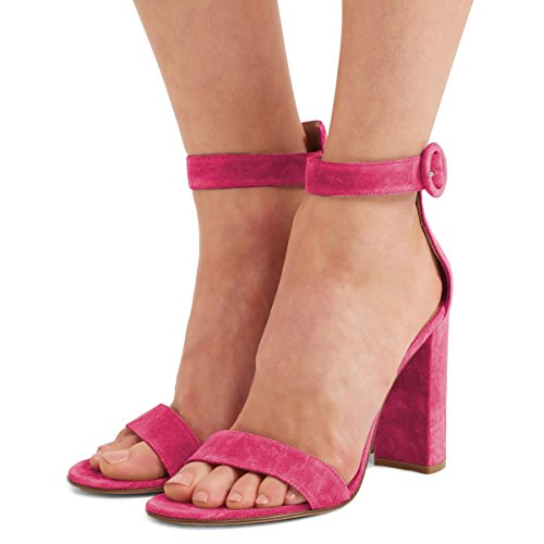 Fsj Women Classic Dorsay Open Teen Sandalen Enkelband Chunky Hoge Hakken Partyschoenen Maat 4-15 Us Hot Pink