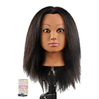 Kalyx Cosmetology Afro Mannequin Head with Hair for Braiding Cornrow or Practice Sew in on Hair Doll Head Manikins Hair Training Head and Table Clamp Stand