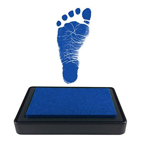 ReignDropBaby Baby Footprint Handprint Ink Pad - Create Impressive Keepsake Stamp - 100% Non-Toxic & Acid-Free Ink - Easy to Wipe/Wash Off Skin - Smudge Proof & Long Lasting Keepsakes (Dark Blue)
