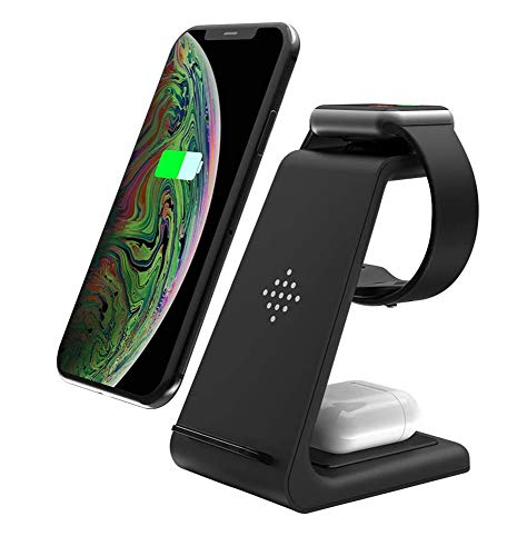 Wireless Charger, 3 in 1 Qi-Certified Fast Wireless Charging Station Charger Stand Dock for iPhone 12/11/11pro/11pro Max…