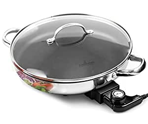 Electric Skillet By Culina 18/10 Stainless Steel, Nonstick Interior, with Glass Lid, 12-inch Round, Ptfe/pfoa-free, Dishwasher-safe