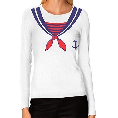TeeStars Women's - Bachelorette Party Sailor Girl Costume Long Sleeve T-shirt Large White