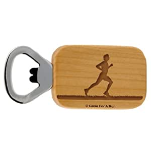 Gone For a Run Male Runner Maple Bottle Opener