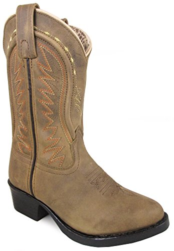 Smoky Mountain Youths' Sienna Stitched Pull On Straps Narrow Round Toe Tan Western Boots 4.5M