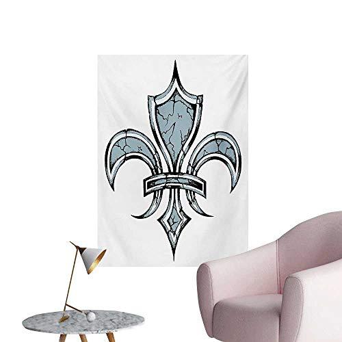 Anzhutwelve Fleur De Lis Wall Paper Grungy Lily Retro Renaissance Spirit Element Victory Vintage Art PrintBlue White Black W24 xL32 Art Poster ()