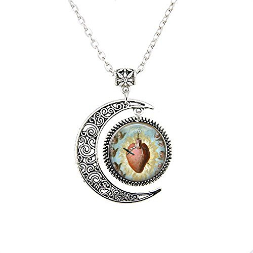 lukuhan Sacred Heart of Mary - Juan Morlete Ruiz - Mexican Religious Art - Catholic Pendant - Sacred Heart Pendant - Corazon de Maria Necklace