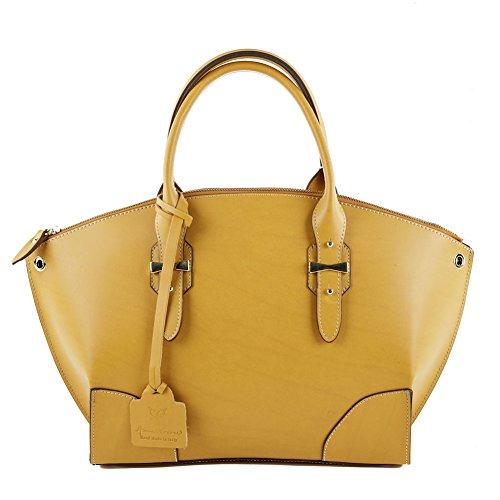 Sac à bandoulière, Alyssa jaune cuir, Dimensions en cm: 44 l x 27 h x 11 p