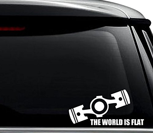 The World Is Flat Engine Decal Sticker For Use On Laptop, Helmet, Car, Truck, Motorcycle, Windows, Bumper, Wall, and Decor Size- [8 inch] / [20 cm] Wide / Color- Gloss White ()