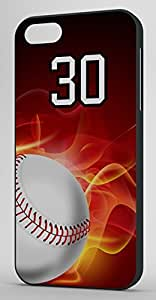 Flaming Baseball Sports Fan Player Number 30 Black Rubber Decorative iphone 6 4.7 Case