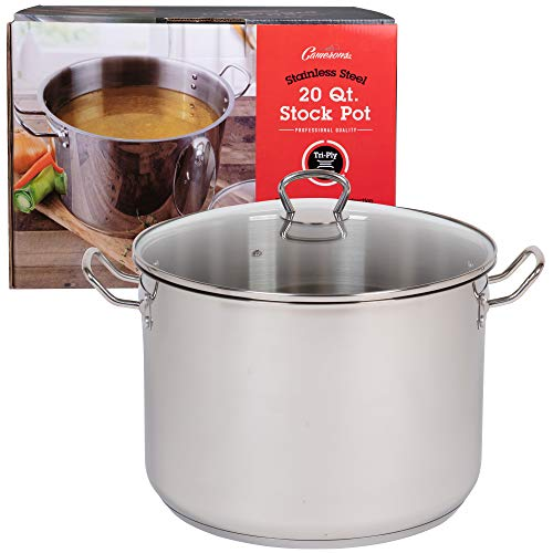20 Quart Stockpot- Tri-Ply Stainless Steel Stock Pot w Glass Lid- Commercial Grade Sauce Pot for Canning w Stick Resistant Interior, Stay Cool Handles and Induction Compatible ()