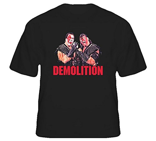 The Demolition Tag Team Retro Wrestling T Shirt 2XL Black by The Village T Shirt Shop