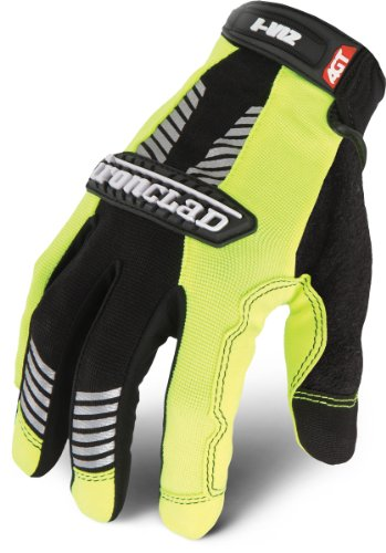 Ironclad IVG2-04-L I-Viz Reflective Green 2 Glove, Large, 1-Pack -