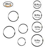 #2: Kootiko 100 Pieces Assorted Sizes Book Rings Loose Leaf Metal Binder Rings Keychain Key Ring Nickel Plated,1.2 inch 1.5 inch 1.8 inch 2 inch 4 Size for Scrapbooking Notebook Office Supplier School