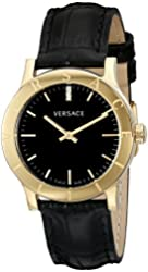 Versace Women's VQA030000 Acron Diamond-Accented Gold-Tone Watch with Black Leather Band