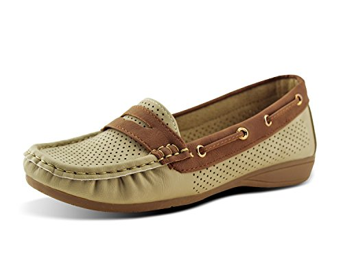 Jabasic Lady Comfort Slip-on Loafers Hollow Driving Flat Shoes(7.5,Beige) (Womens Dressing Shoes)