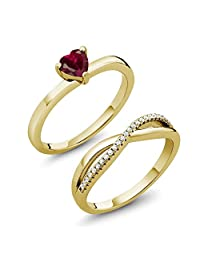 0.90 Ct Created Ruby 18K Yellow Gold Plated Silver Engagement Wedding Ring Set