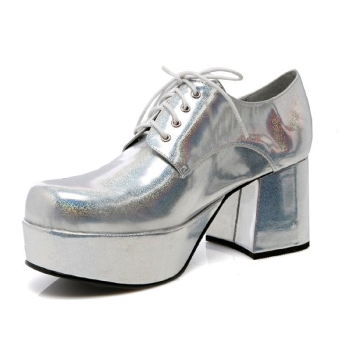 3 Inch Heel With 15' Platform Pimp Shoe Men's Sizes (Silver Hologram;Medium) -