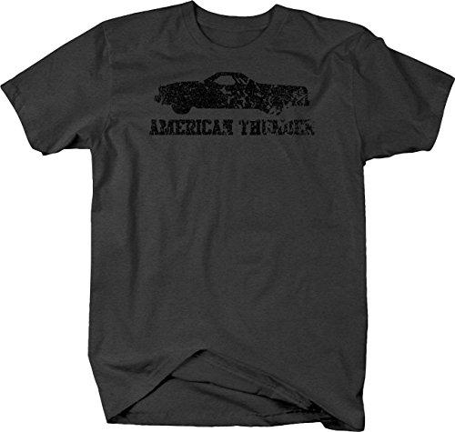 Distressed - American Thunder SS El Camino 454 V8 Muscle Car Tshirt - XLarge (1973 El Camino Ss 454 For Sale)