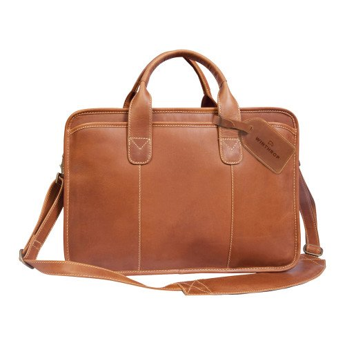 Winthrop Canyon Buffalo Valley Tan Briefcase 'Primary Mark Engraved' by CollegeFanGear