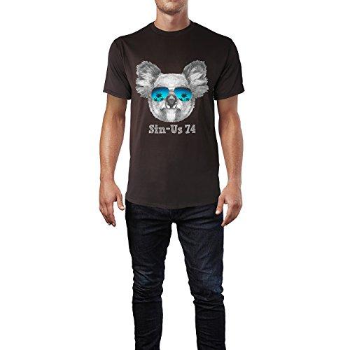 SINUS ART® Koalabärkopf mit Sonnenbrille Herren T-Shirts in Schokolade braun Fun Shirt mit tollen Aufdruck