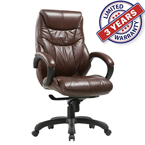 Executive Bonded Leather Chair with Lean Forward High Back and Comfort Padding Ergonomic Seat for Managerial Office Home