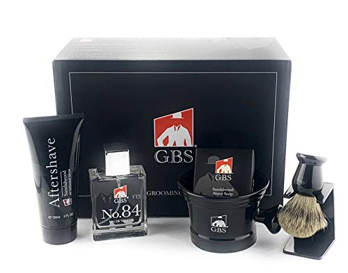 GBS Premium Men's Wet Grooming Shaving Set-Gift Boxed-Ceramic Black Shaving Mug with Knob Handle, Pure Badger Hair Brush + Stand, Sandalwood Shave Soap, No.84 Cologne, and Sandalwood Aftershave! ()