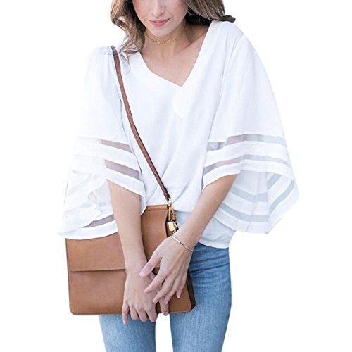 Fedi Apparel Summer Women Chiffon Blouses Casual Flare Sleeve Shirts White Loose Tops
