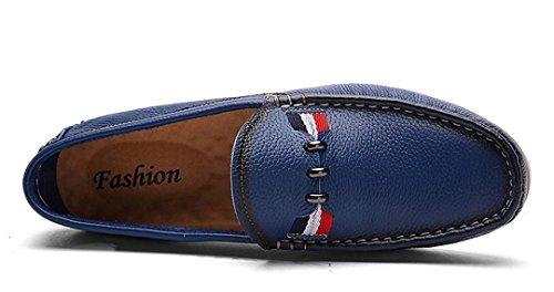 Tda Heren Casual Comfortabele Slip Op Leren Rijden Business Loafers Jurk Mocccasin Bootschoenen Blauw