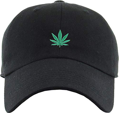 Music Music Black Cap - Funky Junque Dad Hat Unisex Cotton Low Profile Distressed Vintage Baseball Cap (Cannabis Leaf - Black)