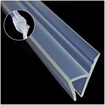 "Glass Shower Door Seal Strip(No adhesive Include), 120inch Frameless Weather Stripping Seal Sweep for Door Windows, Flexible with Durable Weatherproof Silicone for 3/8"" Glass (h Shape)"