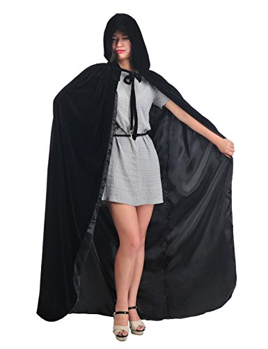 [Topwedding Christmas Deluxe Cloak Adult Halloween Costumes Capes, black, L] (Velvet Gothic Cloak 63 Deluxe Costumes)