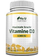 Vitamine D3 3000 IE - 365 Softgels (Jaarvoorraad) - Driedubbele Sterkte Vitamine D3 Supplement - Hoge Absorptie Cholecalciferol - Gluten- en Zuivelvrij - Gemaakt in het VK door Nu U Nutrition