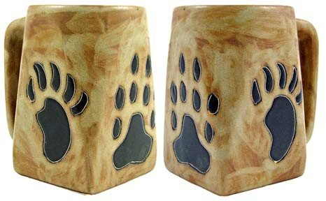 One (1) MARA STONEWARE COLLECTION - 12 Oz Coffee Cup Square Bottom Dinner Mug - Bear & Wolf Paws/Southwest ()