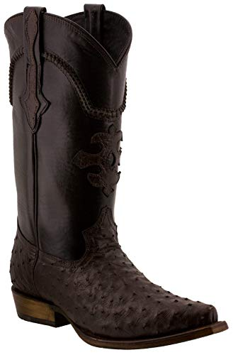 Cowboy Professional - Men's Brown Genuine Ostrich Skin Leather Cowboy Boots Snip Toe 12.5 E US