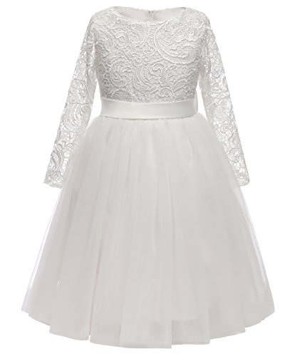Flower Girl Dress Long Sleeves Lace Top Tulle Skirt Kids First Communion Gowns Size 6 White ()