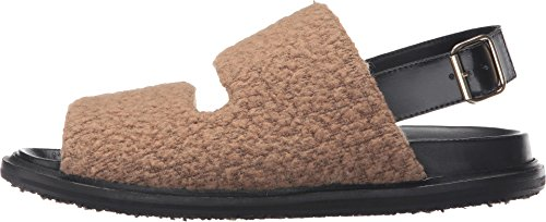 Marni Mens Ull Jersey Furry Stygn Sandal Kamel