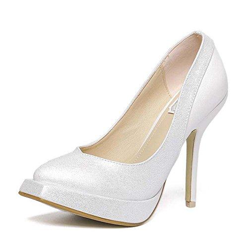Sandalias de Tacón Alto para Mujer Zapatos de Punta Cuadrada Confort Transpirable Negro/Blanco Talla 34-39 Blanco