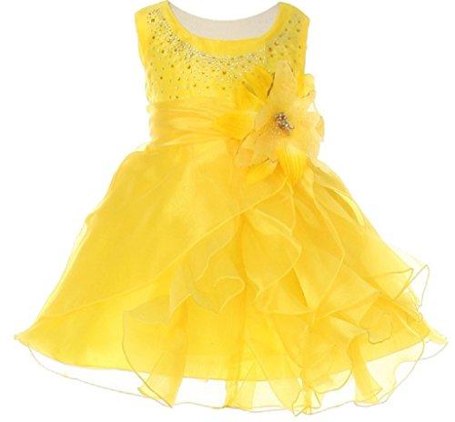 Little Baby Girls' Dazzling Cascade Rhinestone Ruffle Flowers Girls Dresses Yellow XL (Graduation Cap Cascade)