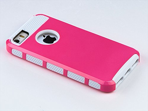 TCD for Apple iPhone 5 5S [PINK ON WHITE] Hybrid Rugged Protective Defender Series Combo Case Cover Multiple Layers Shock Ultimate Protection [Includes FREE SCREEN PROTECTOR AND STYLUS PEN]
