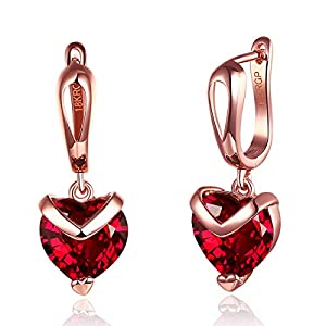 Sukkhi Crystals from Swarovski Drop Down Gold Plated Heart Earring for Women and Girls (E81063)
