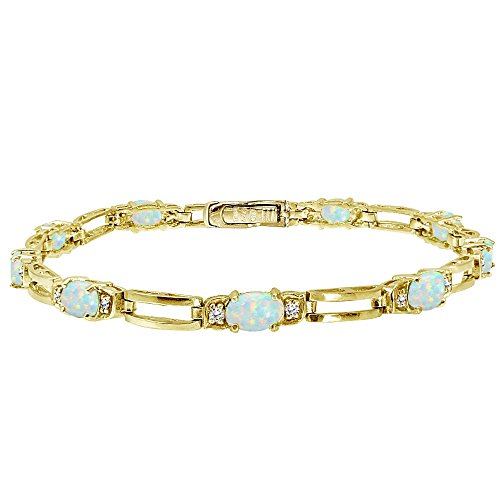 Yellow Gold Flashed Sterling Silver Created White Opal and Cubic Zirconia Oval & Bar Link Bracelet - Yellow Gold Opal Bracelets
