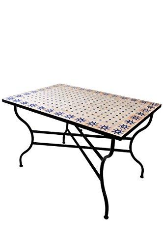 Mesa mosaico de balcon marroqui oriental mediterranea ORIGINAL - Soleil Natural/Azul, 120 x 80 cm - mesa de cocina mesa de azulejos mesa de comedor mesa de jardin mesa de terraza