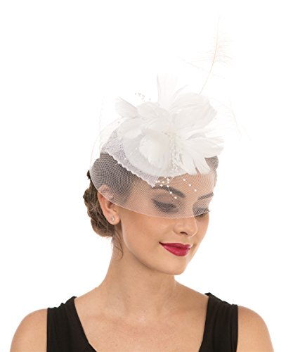 Lucky Leaf Women Girl Fascinators Hair Clip Hairpin Hat Feather Cocktail Wedding Tea Party Hat (3-Feather (White Hat Pin)